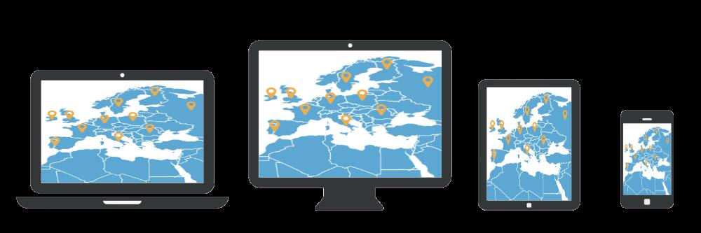Localisations VPN partout dans le monde